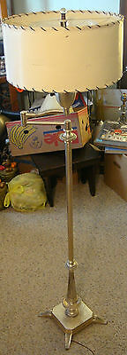 Vtg antique Floor Lamp swing arm mogul light Cooper Rohde Art Deco Silver torch