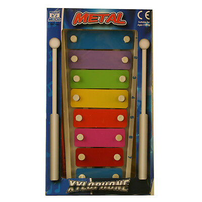NEW KIDS CHILDRENS COLOURFUL METAL 8 NOTE XYLOPHONE & 2 BEATERS MUSIC instrument