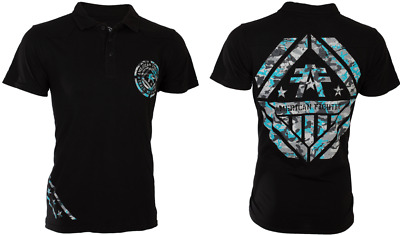 AMERICAN FIGHTER Men POLO T-Shirt AVERETT Biker BLACK BLUE CAMO Gym MMA UFC $45
