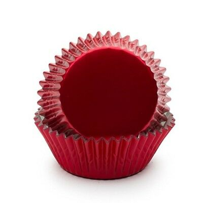 Fox Run Standard Baking Fluted Paper Cups Cupcake Muffin Liners Red Foil, 32 ct.