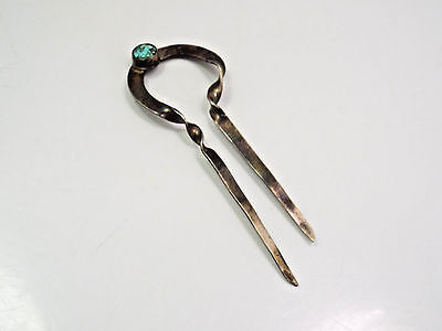 Vintage Native American Sterling Silver & Small Spider Web Turquoise Hair Pin