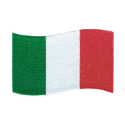 "Italy Flag Italian Embroidered Iron-On Patch Size 3""x2"" Jacket Jeans Beanie Bag"