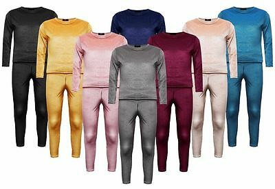 Kids Girls Jogger Lounge Wear Crushed Velour Velvet 2 Piece Tracksuit 7-13 Year
