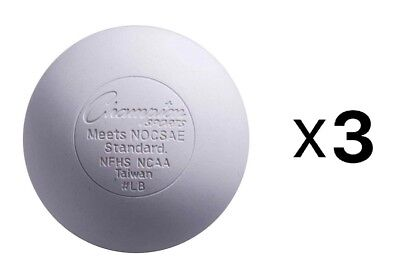 Champion Lacrosse Ball Official NFHS NCAA Massage Therapy-WHITE (3-Pack)