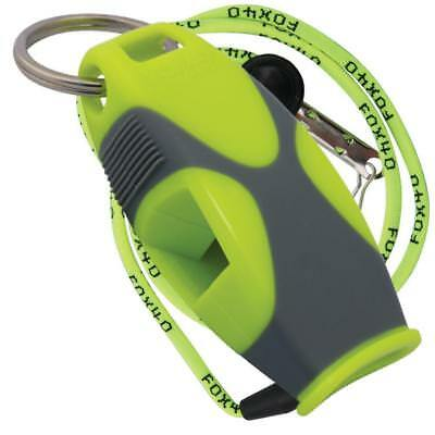 Fox 40 Sharx Whistle With Lanyard Referee Coach Survival Outdoor Safety Dog Lime