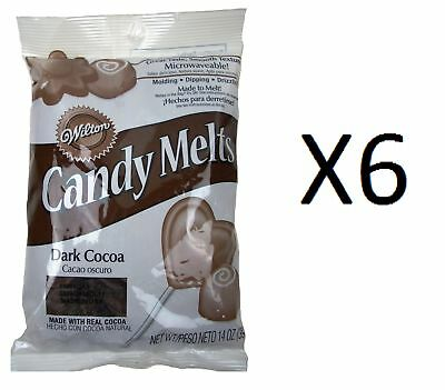 Wilton Candy Melts/Wafers 12oz Dark Cocoa Flavor Candy Making Supplies (6-Pack)