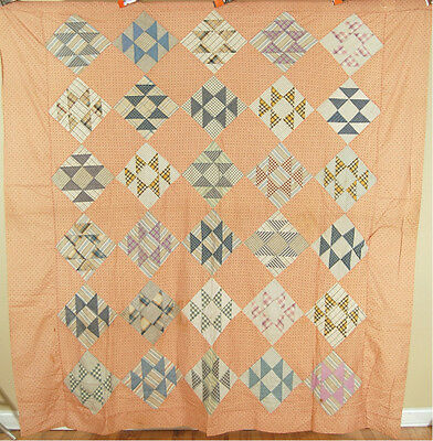 "Vintage 1890's ""Double X"" Patchwork Antique Quilt Top ~GORGEOUS EARLY FABRICS!"