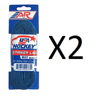 """A&R Striker Ice Hockey Waxed Skate Laces Pro Durable Royal Blue 84"""" (2-Pack)"""