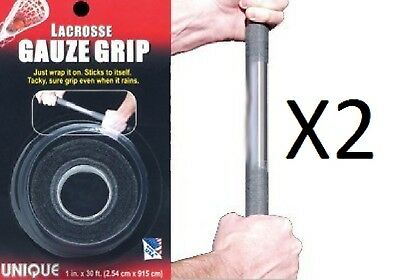 Unique Lacrosse Tacky Gauze Grip Tape Black 30 Ft Long Rough Surface (2-Pack)