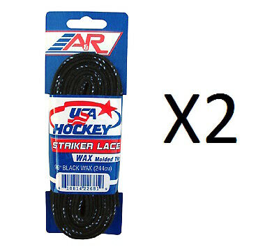 "A&R Striker Ice Hockey Waxed Skate Laces Pro Heavy Duty Lace Black 96"" (2-Pack)"
