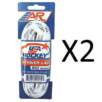 "A&R Striker Ice Hockey Waxed Skate Laces Heavy Duty Lace White 84"" (2-Pack)"