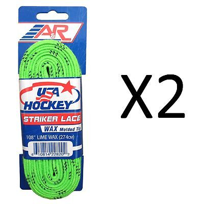 A&R Sports USA Hockey Laces - Waxed Striker Laces - Lime 108 Inches (2-Pack)