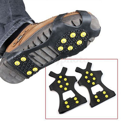 10-Stud AntiSlip Ice Snow Shoes Men Spike Crampons Grippers Rock Climbing Kits