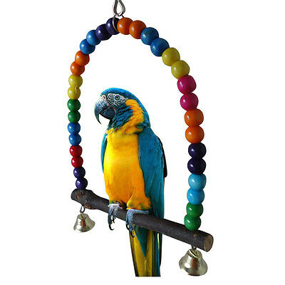 Colorful Ball Pet Bird Parrot Budgie Cockatiel Wooden Swing Frame Hanging Toys