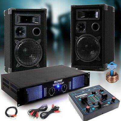 2400 Watts PA Party Compact Music System Amplifier Speakers USB MP3 Mixer Cable