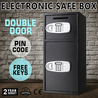 Double Door Digital Security Deposit Drop Box Safe Depository Black New Deluxe
