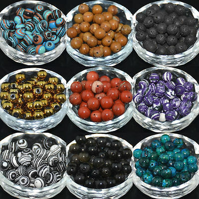 Wholesale Lot Natural Gemstone Round Spacer Loose Beads 4mm 6mm 8mm 10mm NEW