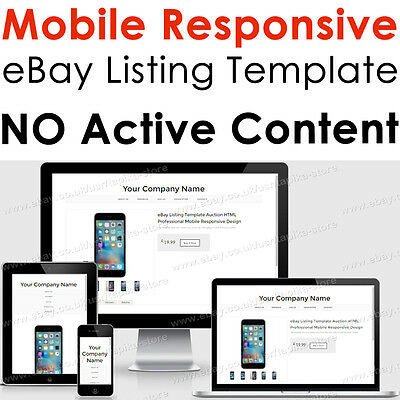 eBay Listing Template HTML Professional Mobile Responsive Design Tabbed Box
