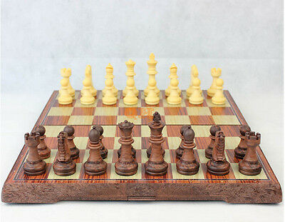 """Large Size HANDMADE TRAVEL WOODEN CHESS SET with magnetic 36cm 14"""" board"""