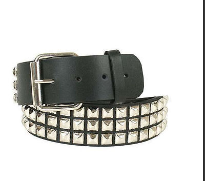 Ladies Studded Belt Black Silver Punk Metal Rock Chick Fashion Fancy Dress