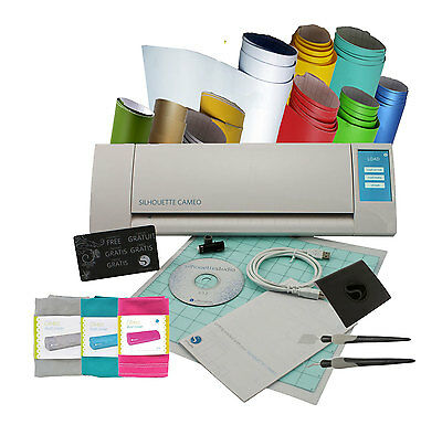 Silhouette Cameo V2 + 10 Assorted Vinyl + Tools + Dust Cover