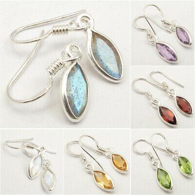925 Solid Silver MARQUISE Gemstone Earrings ! Affordable Wedding Jewelry NEW