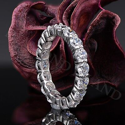 14K White Gold 3.2 Ct Round Brilliant Cut Solitaire Eternity Wedding Band Ring