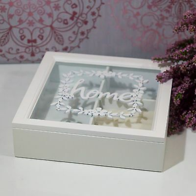 White Wooden Jewellery Box Display With Glass Top Lid HOME Christmas Present NEW