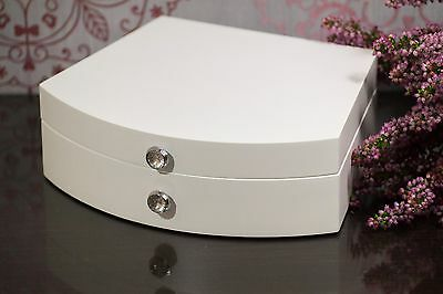 White Wooden Jewellery Box Vintage With Mirror Perfect Christmas Gift New