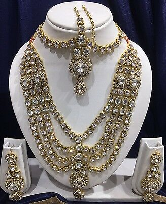 Indian Bollywood Bridal Jewellery Necklace Set With Earrings And Matha Patti