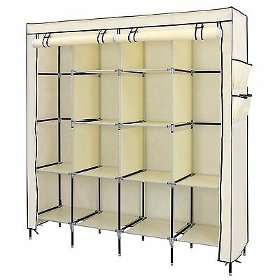Quadruple Multiple Canvas Wardrobe With Hanging Rail Home Furniture Storage