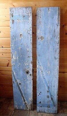 2 Antique Rustic Blue Red Chippy Paint Weathered Barn Wood Door Boards w/ Lock