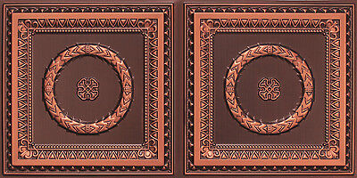 # 8210 Antique Copper ­ 4' x 2' PVC Decorative Ceiling Tile ­ Glue Up / Grid