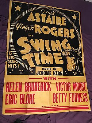 Original RARE Swing Time 1936 Two Sheet Movie Poster Fred Astaire Ginger Rogers