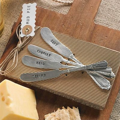 Mud Pie Vintage Style Cheese Knives Set of 4 NEW