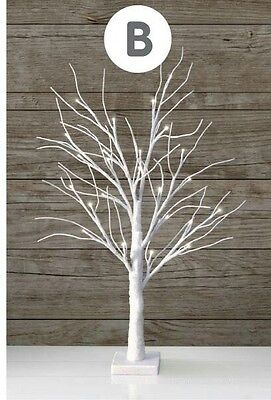 70cm twig Christmas tree prelit 24 led white sparkle glitter table top 2ft gift
