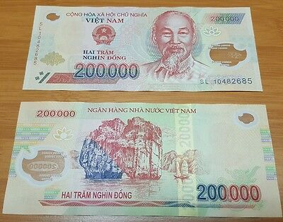 Vietnam Banknote 1 pc x 200,000 200000 Dong Polymer Currency, UNC