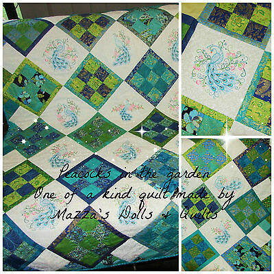 Peacocks embroidered patchwork quilt- large cot or lap OOAK -135cmx 135cm