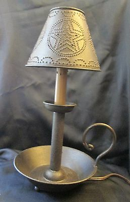 """Country Dish Candle Lamp with Punched Tin Star Shade NWOT 15"""" Tall Candelabra"""
