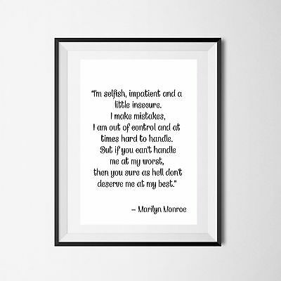 Inspirational Quote Poster Art Print A4 Typography Decor gift wall decor Marilyn