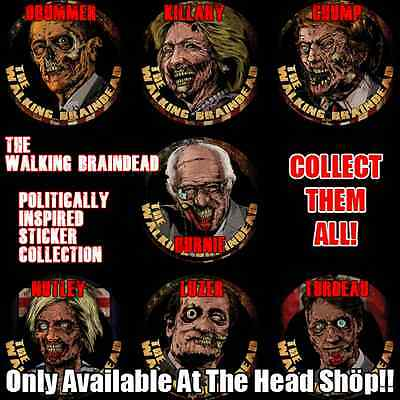 The Walking Braindead Politically Inspired Sticker Collection -- Complete!