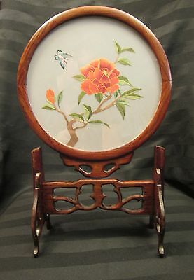 Vintage Chinese Rose Wood Glass Silk Embroidery Floral Butterfly Panel and Stand