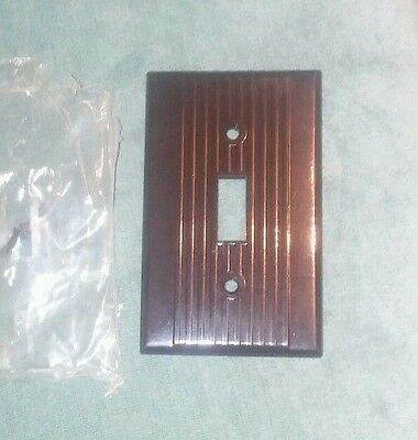 (Lot of 2) Vintage Ribbed Brown Bakelite Light Switch Plate Covers Leviton