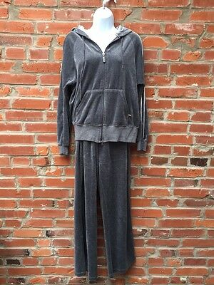 90s 2000s Velour Tracksuit Womens Gray Hoodie Pants Set New York Laundry (942)
