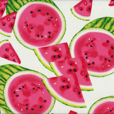 Watermelon Fruit Slices on White Quilt Fabric