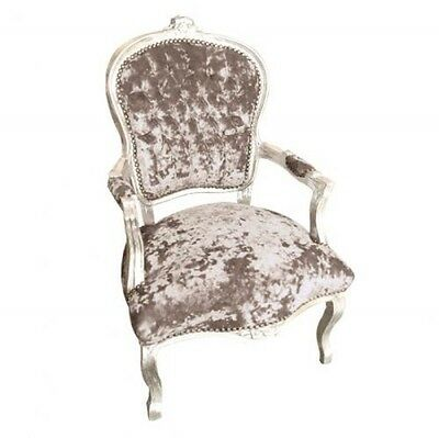 French Louis Chair In  Taupe Crushed Velvet With Silver Wooden Frame