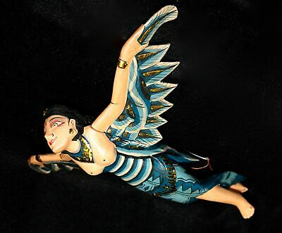 Flying Dewi Sri Goddess Crib Guardian Mobile Winged Carved Wood Bali art Teal 12