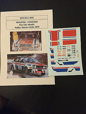 Decals 1/43 Fiat 131 Abarth Mouton N°12 Rallye Monte Carlo 1979 Wrc Rally