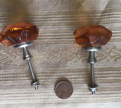 PAIR of Amber Glass Drawer KNOBS (2) Two matching