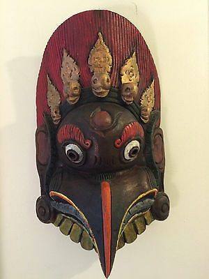 Antique Masterquality Hand Carved Wooden Tibetan Tantrik Mask,Nepal